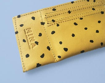 Yellow Leather Card Holder - Black spots print - Printed by hand - Black spots over yellow leather