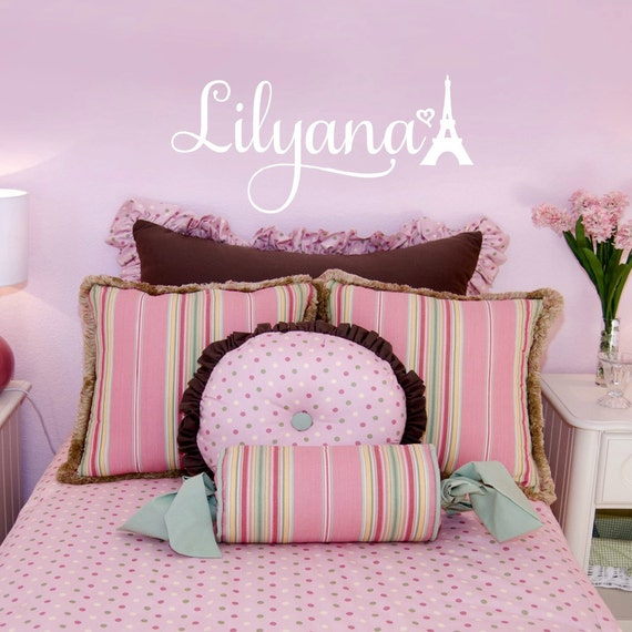 Paris Bedroom Decor for Girls Personalized Vinyl Name Wall