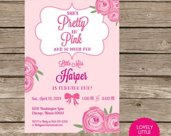 DIY Printable or Printed Pretty in Pink Invitation