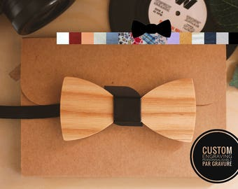 Kid wood bow tie personalized with name engraved, child wooden bow tie, custom bowtie