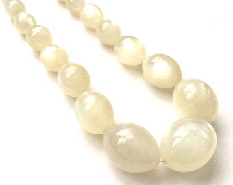 Vintage White Lucite Moonglow Necklace with Graduating Beads
