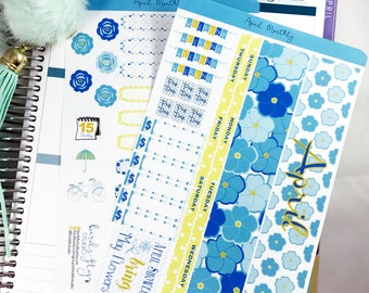 April MONTHLY Kit Planner Stickers | Monthly Spread for Erin Condren  / Stickers for ECLP / Themed Monthly Planner Stickers