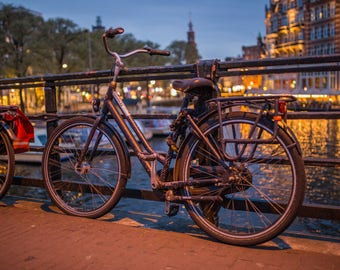 Bicycle in Amsterdam at Night - Amsterdam Canals - Netherlands Photography