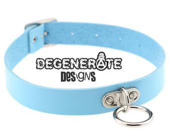 Punk Blue Leather O Ring Bondage Collar Choker Vegan