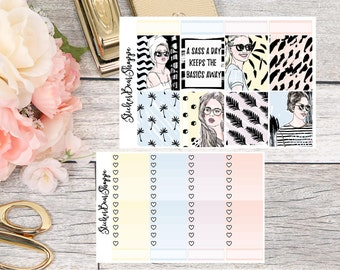 Sassy Chic Weekly Kit Planner Stickers - For Erin Condren Life Planner