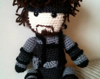 Solid Snake crochet amigurumi doll.