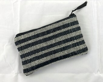 Large Zip Pouch, black and ivory, handmade and hand-woven, with ivory satin lining