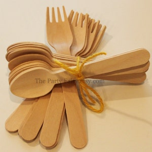 Wooden Spoons and Forks-20 Craft Spoons and Forks, Plain Wooden Silverware for Hand Stamping -Party Wooden Utensils-Banquets-Holiday Buffet
