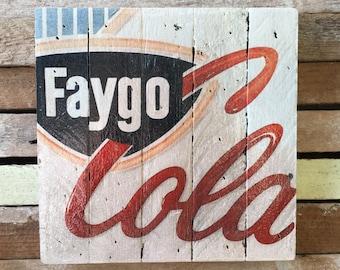 "Vintage Faygo Cola Print on Historic Detroit Slatwood 7.5"" x 7.5"" Wall Hanging or bookshelf decor"