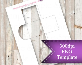 "INSTANT DOWNLOAD  Small Favor Box Template,  8.5""x11"" Transparent PNG"