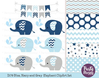 Navy Blue Baby Elephant Clipart Set, Grey Chevron Sprinkle Water, Cute Nursery Decor, Digital Paper Pack, Shower Set -D170