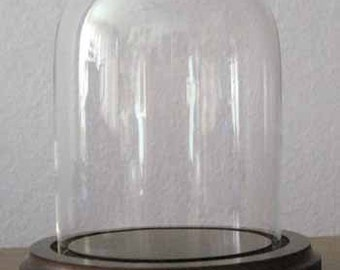 Bell Jar 3x4 Small Glass Dome with Black or Brown Wood Base