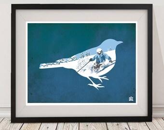 Bluebird Skiing Poster