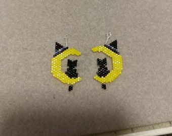 Witch Kitty Beaded Earrings