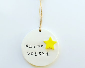 Quotes, Ceramic Wall Hanging, Yellow Star, Made in Australia, Graduation, New Business Gifts, Inspirational Quotes