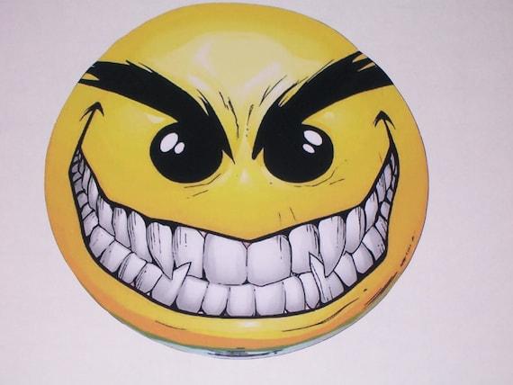 Evil smiley face emoji sticker graphic decal window golf cart