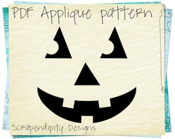 Pumpkin Applique Pattern -  Halloween Applique Template / Pumpkin Face Boys Shirt / Halloween Quilt Pattern / Funny Face Blanket AP300-D