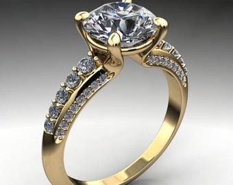 natasha ring - 1.9 carat diamond cut round NEO moissanite engagement ring, yellow gold engagement ring