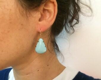 Robin's Egg Blue Wide Prong Earring