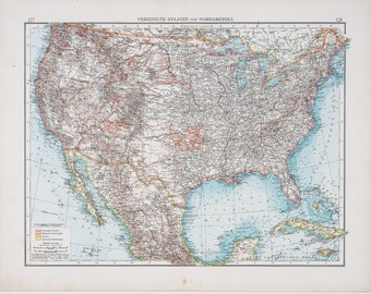Map of USA - North America / Color map / Original / German World Atlas 1896 / Big / 22.5 x17.5 in