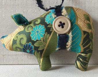 pig ornament, handmade fabric pig, fabric pig, holiday tree ornaments, blue gold ornaments, pig decor