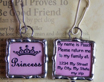 Soldered Glass Charm, Dog Tag, ID Pendant, Personalized Pet Charm, Custom Made