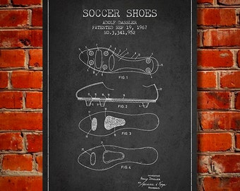 1967 Soccer Shoes Patent, Canvas Print,  Wall Art, Home Decor, Gift Idea