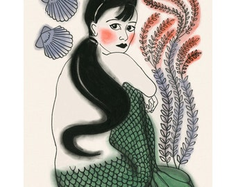 Mermaid Wall Art Print - 4 for 3 SALE -  Jemima - 4 X 6 Print