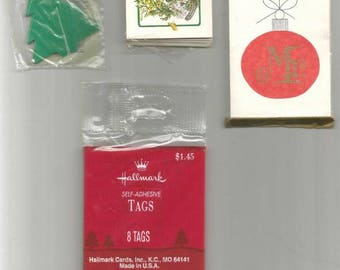 Vintage Christmas Gift Tags Vintage Hallmark Tags Four Packages Retro Christmas Lot #44
