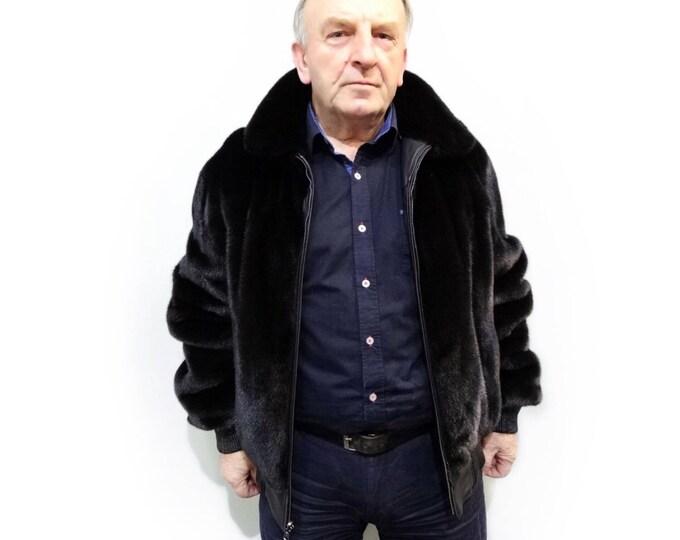 Men's double sided fur leather jacket, Black reversible jacket F457