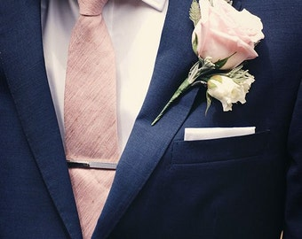 READY TO SHIP Silk Dupioni Men's necktie in Pale Pink (as shown) - Standard width