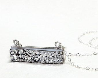 Druzy horizontal bar necklace, Silver druzy, Sterling Silver