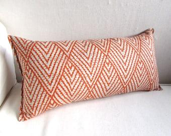 Ikat TANGERINE lumbar, throw, accent, toss pillow 10x20
