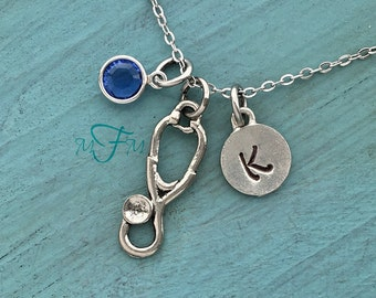 Stethoscope Charm Necklace, Personalized Necklace, Silver Pewter Stethoscope Charm, Custom Necklace, Swarovski Crystal birthstone, monogram
