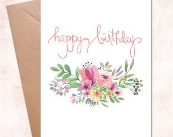 Printable Handwritten Happy Birthday Flower Bouqet Instant  Download Digital Card