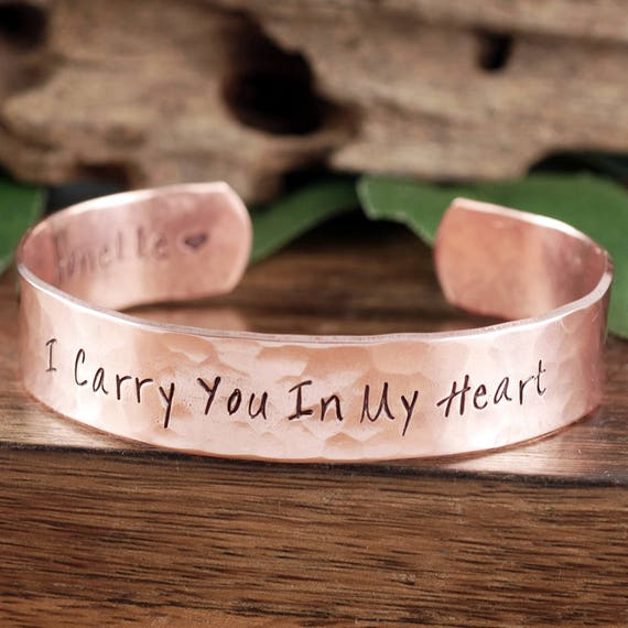 I Carry You in My Heart, Memorial Cuff Bracelet, Personalized Bracelets, Remembrance Jewelry, Custom Bangle Bracelets, Loss of Loved One