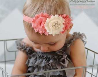 Coral Headband - Baby Girl Headband - Coral Hair Bow - Coral Photo Prop For Baby - Baby Girl Headband