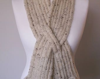 GetWoolly, oatmeal, cream, handknitted scarf, Fisherman, ribbed knit, flecks