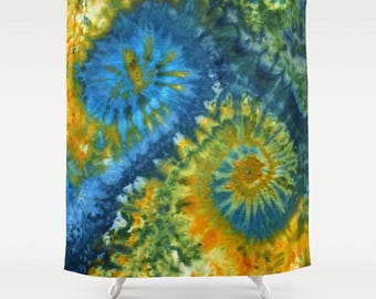 Fabric Shower Curtain-Tie Dye Hippie-Blue Yellow Green-Decorative Shower Curtain-71x74 inches,