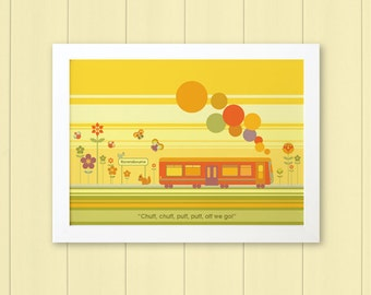 TRAIN - Children's / kid's / baby's personalised framed picture - Children's wall art - Baby's bedroom wall art - Child's gift