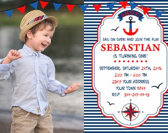 Nautical Birthday Invitation. Nautical Invitation. Nautical Birthday Party. Nautical Party Invite. Invitation with a photo.Anchor. Any age.