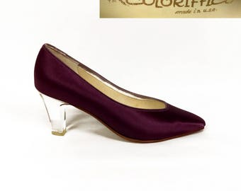 Vintage 60s Coloriffics Eggplant Satin Pumps w/ Clear Acrylic Heel // 1960s // purple // lucite // Bewitched // violet // pointy // pointed