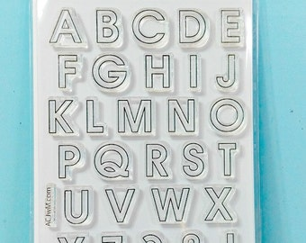 Large Alphabet Stamps - Uppercase Alphabet Stamps - Everyday Alphabet Outline Uppercase and Symbols Large stamp set