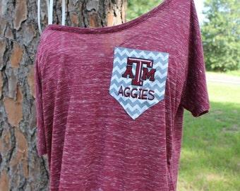 Texas A&M Aggies Off Shoulder Chevron Pocket Shirt