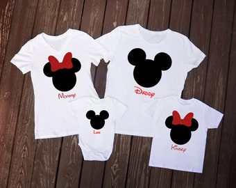 Mickey or Minnie Iron-On Transfer | Available in Glitter | Personalized Name Family Disney Vacation T-Shirts