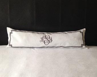Long Mongram Pillow Covers, Long Personalized Pillow Covers, Bed Monogram Pillow Covers, Bed Personalized Pillow Cover
