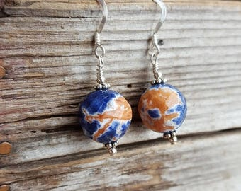 Orange and Blue Sodalite and Sterling Silver Earrings, Faceted Blue Sodalite Earrings, Large 12mm Round Blue Sodalite Drops, Sodalite Drops