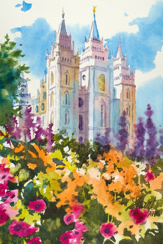Salt Lake LDS Temple Painting Salt Lake Temple Spring