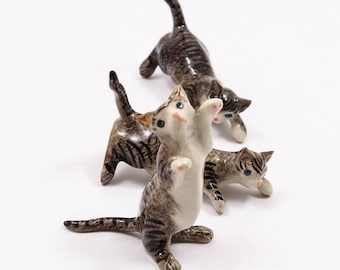 High Quality Cat Kitten Pet Hand-Painted Ceramic Figurine Miniature Dollhouse Collectible Garden Decoration A1085