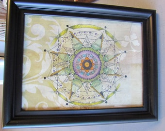 "Mandala - Original Artwork - 5"" x 7"" Framed"